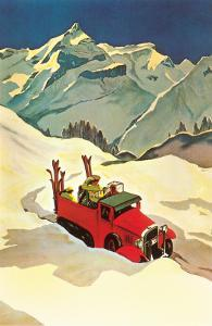 Truck in Snow with Skiers