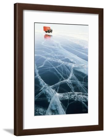 Truck on Frozen Lake Baikal-Ria Novosti-Framed Photographic Print