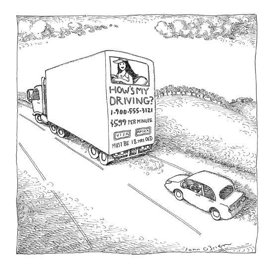Truck with sexy sign on its back, driving on the road. - New Yorker Cartoon-John O'brien-Premium Giclee Print
