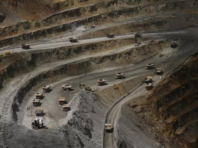 Trucks Hauling Waste Rock at Batu Hijau, a Copper and Gold Mine-Randy Olson-Photographic Print