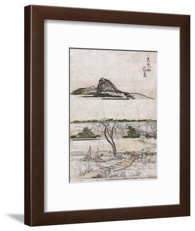 True Distant view of Oyama Mountain, Japanese Wood-Cut Print-Lantern Press-Framed Art Print
