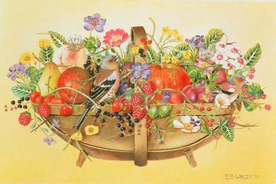 Trug with Fruit, Flowers and Chaffinches, 1991-E.B. Watts-Giclee Print