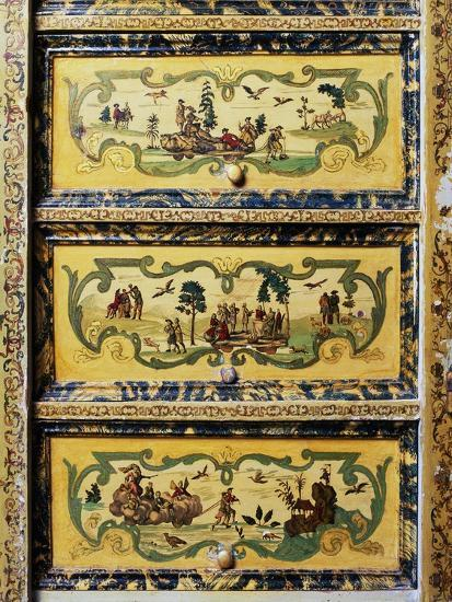 Trumeau Cabinet with Arte Povera Style Paintings Depicting Pastoral and Chinese Scenes--Giclee Print