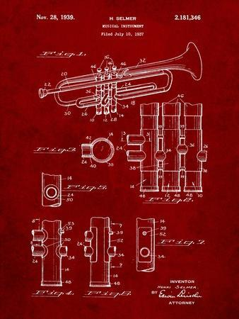 Trumpet Instrument Patent-Cole Borders-Art Print