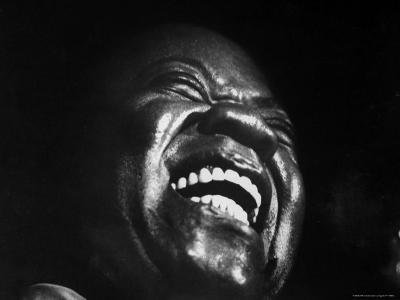 "Trumpeter Louis Armstrong Belting Out His Famous Rendition of the Song ""Hello Dolly"" in a Nightclub-John Loengard-Premium Photographic Print"