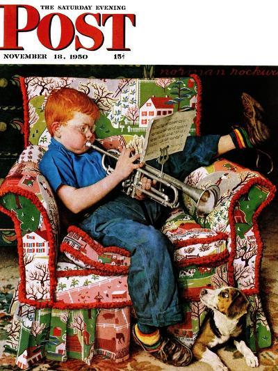 """Trumpeter"" Saturday Evening Post Cover, November 18,1950-Norman Rockwell-Giclee Print"