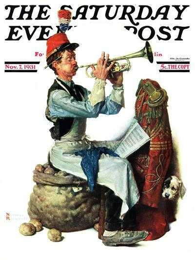 """""""Trumpeter"""" Saturday Evening Post Cover, November 7,1931-Norman Rockwell-Giclee Print"""