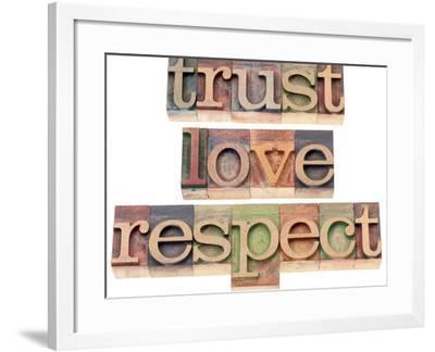 Trust, Love, Respect Words-PixelsAway-Framed Art Print