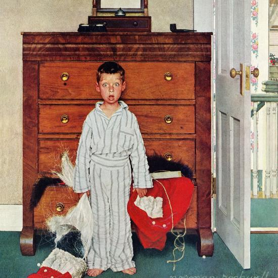 """Truth about Santa"" or ""Discovery"", December 29,1956-Norman Rockwell-Giclee Print"