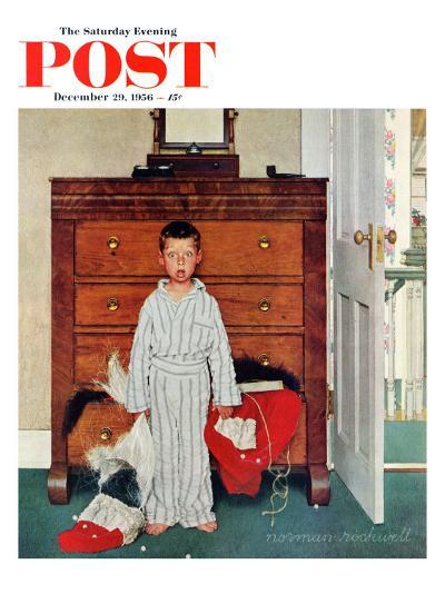 """""""Truth about Santa"""" or """"Discovery"""" Saturday Evening Post Cover, December 29,1956-Norman Rockwell-Giclee Print"""