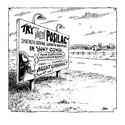Try New Posilac? Synthetic Bovine Growth Hormone in Your Cows  - Cartoon-John Jonik-Premium Giclee Print