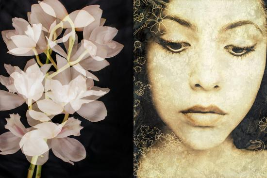 Tryptich of a Portrait of a Woman with Textures and Floral Ornaments with an Orchid-Alaya Gadeh-Photographic Print