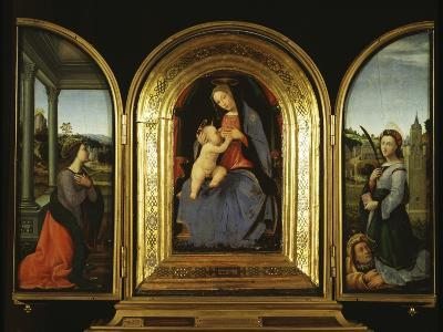 Tryptych: Enthroned Madonna and Child, St Catherine of Alexandria and St Barbara--Giclee Print