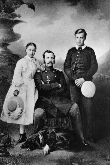 Tsar Alexander II of Russia with His Daughter Maria and Son Alexei, 1863-Ivan Fyodorovich Alexandrovsky-Giclee Print