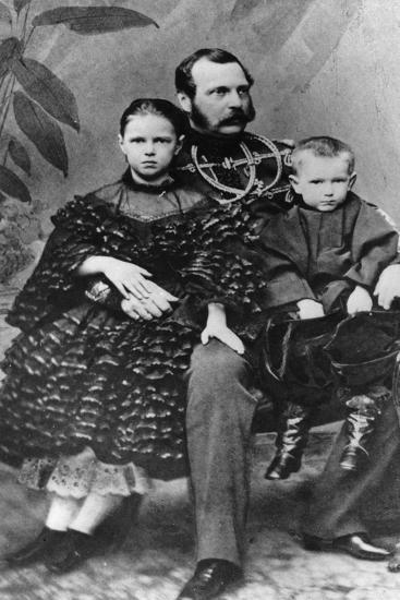 Tsar Alexander II of Russia with His Daughter Maria and Son Sergei, C1860-C1862--Giclee Print
