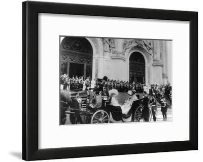 Tsar Nicholas II Leaving the Cathedral of Christ the Saviour, Moscow, Russia, 1912-K von Hahn-Framed Giclee Print