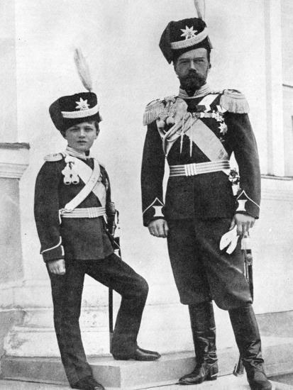 Tsar Nicholas II of Russia and His Son, Alexei, in Military Uniform, C1910-C1916--Giclee Print