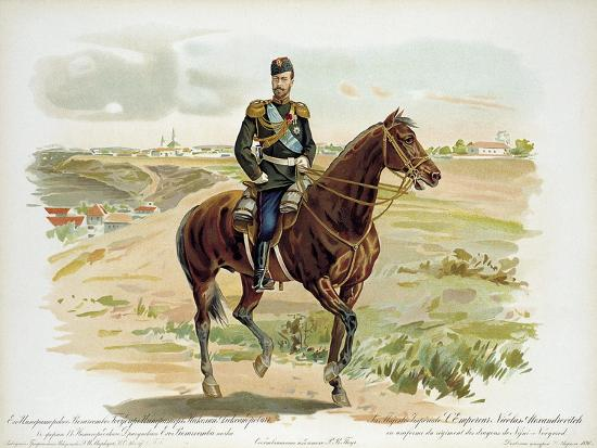 Tsar Nicholas II of Russia in the Uniform of the Nizhny Novgorod Dragoon Regiment, 1896--Giclee Print