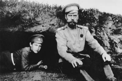 Tsar Nicholas II with His Son Alexei at the Front, 1916--Photographic Print