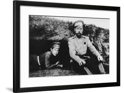 Tsar Nicholas II with His Son Alexei at the Front, 1916--Framed Photographic Print