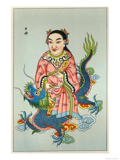 Tsing-Chen the Chinese Spirit of the Wells Rides a Blue Dragon--Giclee Print