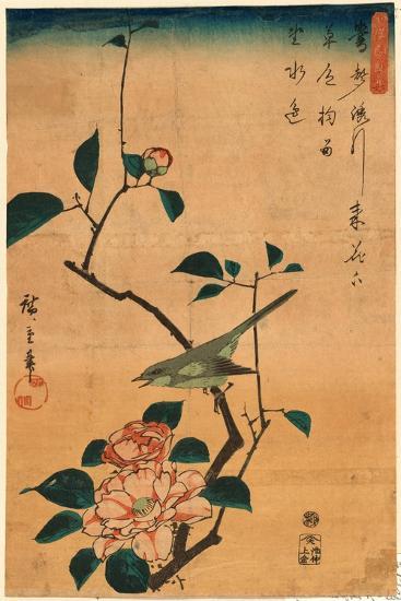 Tsubaki Ni Uguisu-Utagawa Hiroshige-Giclee Print