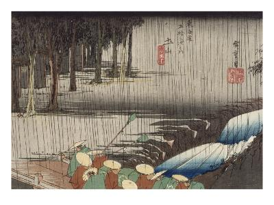Tsuchiyama, pont et cascade sous la pluie-Ando Hiroshige-Giclee Print