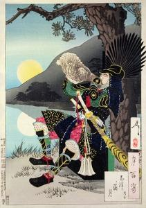 Hideyoshi Blowing a Conch Shell, from '100 Phases of the Moon' by Tsukioka Kinzaburo Yoshitoshi