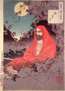 Meditation by Moonlight, (Colour Woodblock Print) by Tsukioka Kinzaburo Yoshitoshi