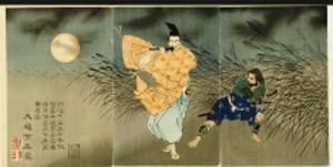 Triptych of 'Fujiwara No Yasumasa Playing the Flute by Moonlight', 1883 by Tsukioka Kinzaburo Yoshitoshi