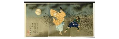 Triptych of 'Fujiwara No Yasumasa Playing the Flute by Moonlight', 1883