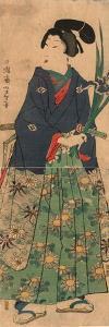 Kakitsubata O Matsu Wakashu Young Dandy Carrying Irises. Taiso by Tsukioka Yoshitoshi