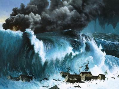 Tsunami Following Eruption of Krakatoa-Severino Baraldi-Giclee Print