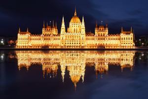 Budapest - Hungarian Parliament  at Night - Hungary by TTstudio