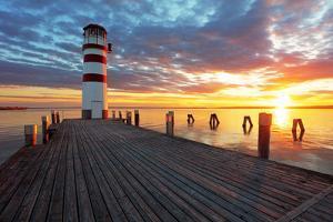 Lighthouse at Lake Neusiedl at Sunset by TTstudio