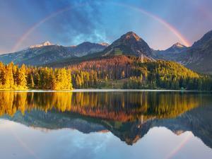 Mountain Lake Landscape with Rainbow - Slovakia, Strbske Pleso by TTstudio