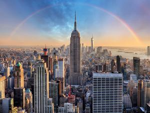 New York City Skyline with Urban Skyscrapers and Rainbow. by TTstudio