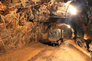 Underground Train in Mine, Carts in Gold, Silver and Copper Mine by TTstudio