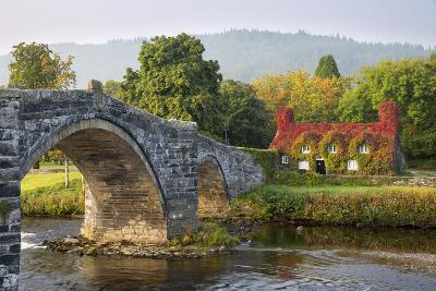 Tu Hwnt I'R Bont Tearoom and Pont Fawr (Big Bridge) in Autumn, Llanrwst, Snowdonia, Conwy, Wales-Stuart Black-Photographic Print