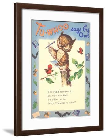 Tu-Whoo Says Owl--Framed Art Print