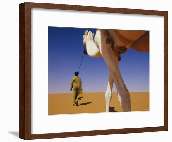 Tuareg Guide Leads His Camel into the Desert-Bobby Model-Framed Photographic Print