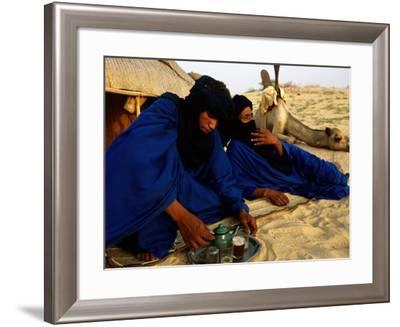 Tuareg Men Preparing for Tea Ceremony Outside a Traditional Homestead, Timbuktu, Mali-Ariadne Van Zandbergen-Framed Photographic Print