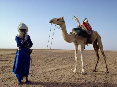 Tuareg Tribesman and Camel, Niger, Africa-Rawlings Walter-Photographic Print