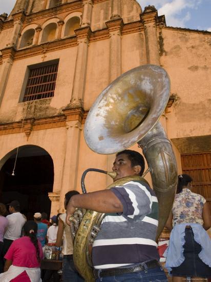 Tuba Player in Front of Iglesia San Juan Bautista de Subtiava During Semana Santa, Leon, Nicaragua-Margie Politzer-Photographic Print