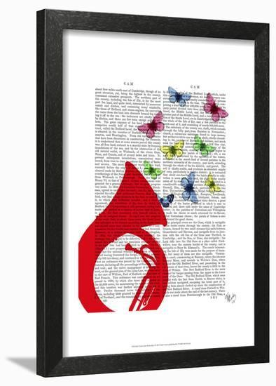 Tuba with Butterflies-Fab Funky-Framed Art Print