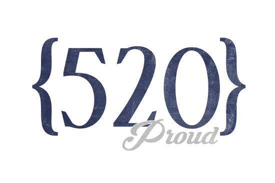 Tucson, Arizona - 520 Area Code (Blue)-Lantern Press-Art Print