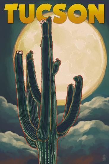 Tucson, Arizona Cactus and Full Moon-Lantern Press-Art Print