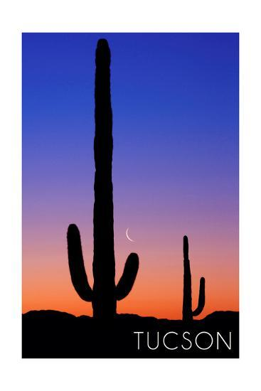 Tucson, Arizona - Cactus and Moon-Lantern Press-Art Print