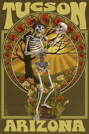 Tucson, Arizona - Day of the Dead - Skeleton Holding Sugar Skull-Lantern Press-Art Print