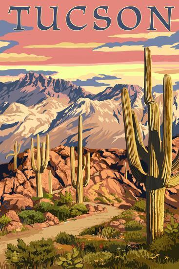 Tucson, Arizona Sunset Desert Scene-Lantern Press-Art Print